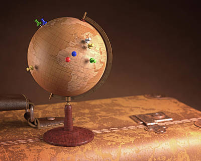 Push Pin Photograph - Vintage Globe And Suitcase by Ktsdesign