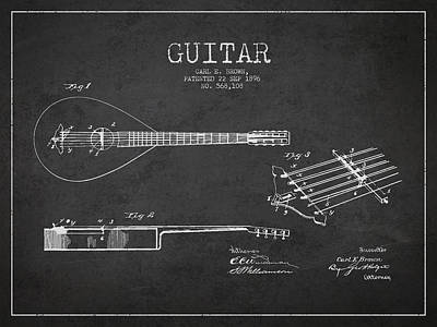 Acoustic Guitar Digital Art - Vintage Guitar Patent Drawing From 1896 by Aged Pixel