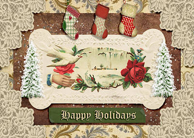 Mixed Media - Vintage Happy Holidays by Paula Ayers