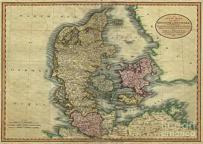 Digital Art - Vintage Map Of Denmark Dated 1801 by Melissa Messick