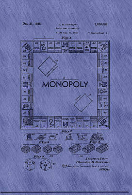 Authority Drawing - Vintage Monopoly Game Patent by Mountain Dreams