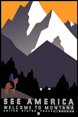 Vintage Montana Travel Poster Art Print by Jon Neidert