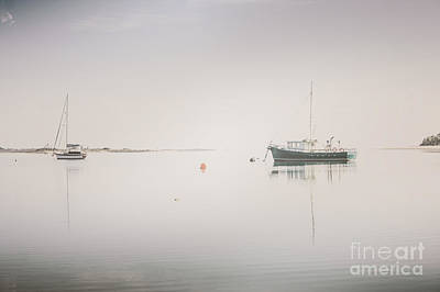 Purely Purple - Vintage photo of a fishing boat anchored at dusk by Jorgo Photography