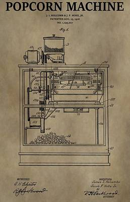 Snack Drawing - Vintage Popcorn Machine Patent by Dan Sproul