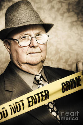 Vintage Portrait Of A Crime Detective Print by Jorgo Photography - Wall Art Gallery