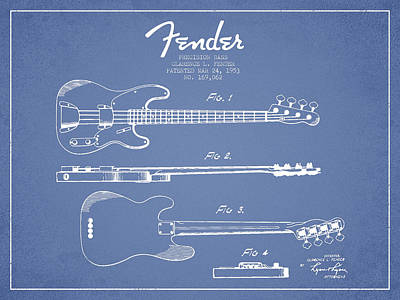 Bass Digital Art - Vintage Precision Bass Patent Drawing From 1953 by Aged Pixel