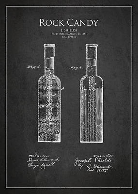 Candy Digital Art - Vintage Rock Candy  Patent Drawing From 1881 by Aged Pixel