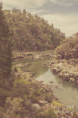Water Filter Photograph - Vintage Rocky Mountain River In Forest Canyon by Jorgo Photography - Wall Art Gallery
