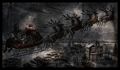 Photograph - Vintage Santa Stormy Midnight Ride Reindeer Sleigh by John Stephens