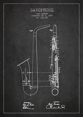 Saxophone Drawing - Saxophone Patent Drawing From 1899 - Dark by Aged Pixel