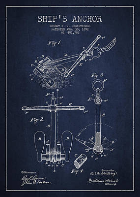 Technical Drawing Digital Art - Vintage Ship Anchor Patent From 1892 by Aged Pixel