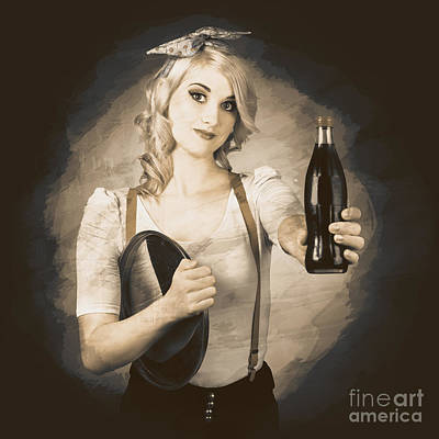 Happy Hour Wall Art - Photograph - Vintage Soda Drink Advert. Pinup With Cola Bottle by Jorgo Photography - Wall Art Gallery