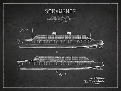 Transportation Digital Art - Vintage Steamship patent from 1937 by Aged Pixel