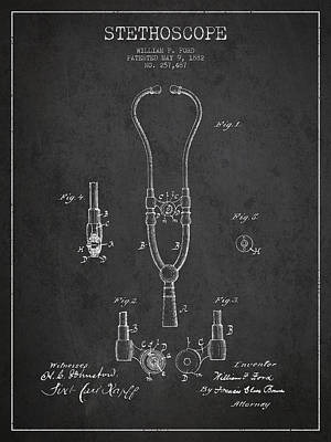 Vintage Stethoscope Patent Drawing From 1882 - Dark Art Print by Aged Pixel