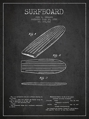 Surfboards Digital Art - Vintage Surfboard  Patent From 1958 by Aged Pixel