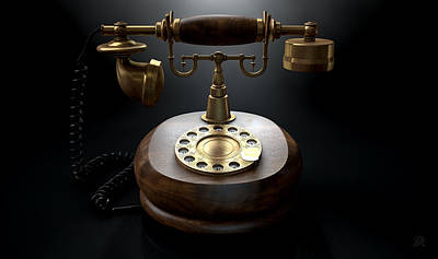 Aged Wood Digital Art - Vintage Telephone Dark Isolated by Allan Swart