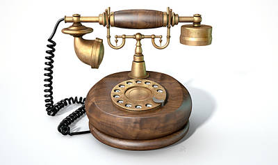 Aged Wood Digital Art - Vintage Telephone Isolated by Allan Swart