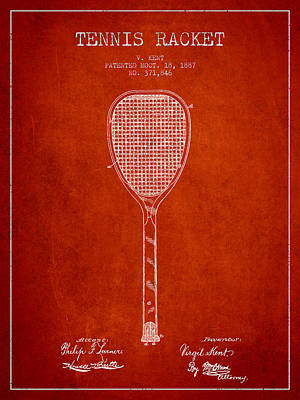 Tennis Racket Digital Art - Vintage Tennnis Racketl Patent Drawing From 1887 by Aged Pixel
