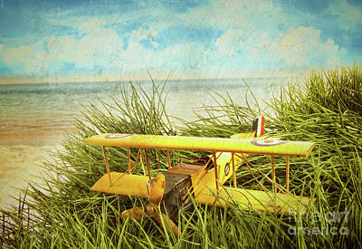 Photograph - Vintage Toy Plane In Tall Grass At The Beach by Sandra Cunningham