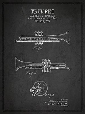 Trumpet Digital Art - Vintage Trumpet Patent From 1940 - Dark by Aged Pixel