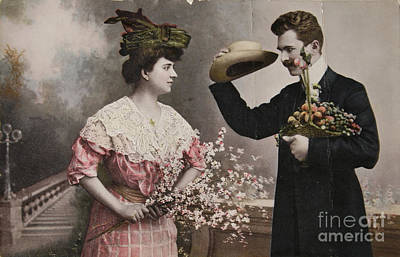 Photograph - Vintage Victorian Courting. by Patricia Hofmeester