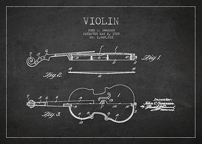 Music Drawing - Vintage Violin Patent Drawing From 1928 by Aged Pixel