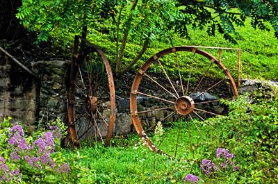 Vintage Wagon Wheel Gate Art Print by Sandi OReilly