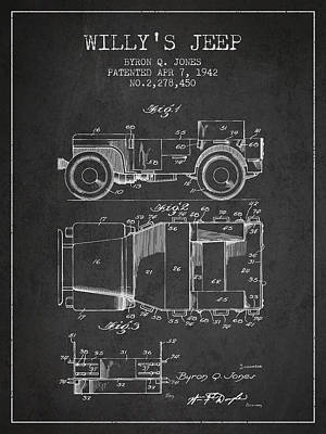 Vintage Willys Jeep Patent From 1942 Art Print