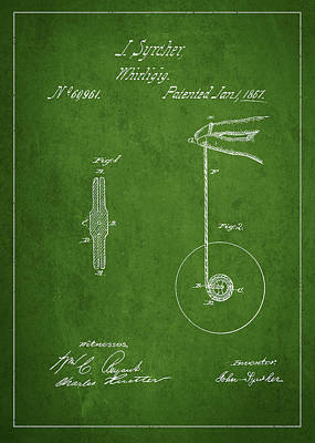 Vintage Yoyo Patent Drawing From 1867 Art Print by Aged Pixel