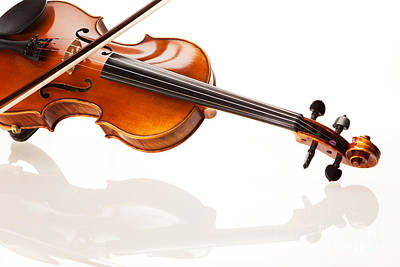 Violin Photograph - Violin And Bow by Wolfgang Steiner