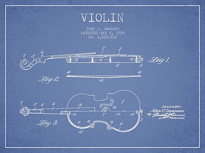 Fiddle Digital Art - Violin Patent Drawing From 1928 by Aged Pixel