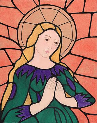 Byzantine Greek Icon Painting - Virgin Mary 5 by Jacqueline Savidge