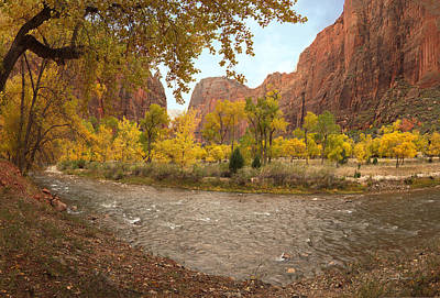 Zion National Park Photograph - Virgin River Canyon In Autumn by Leland D Howard