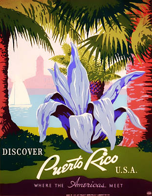 Flyers Art Drawing - Visit Puerto Rico 1938 by Mountain Dreams