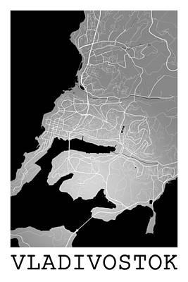 Russia Digital Art - Vladivostok Street Map - Vladivostok Russia Road Map Art On Colo by Jurq Studio