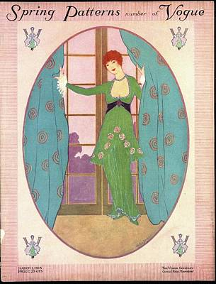 Vogue Cover Illustration Of A Woman In A Green Art Print by Helen Dryden