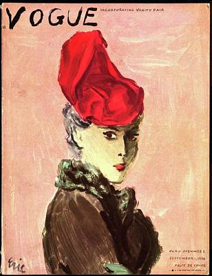 Gray Hair Photograph - Vogue Cover Illustration Of A Woman Wearing A Red by Carl Eric Erickson
