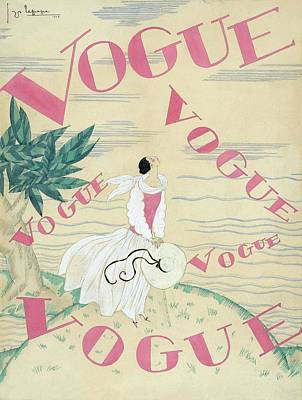 Exterior Digital Art - Vogue Magazine Cover Featuring A Woman Standing by Georges Lepape