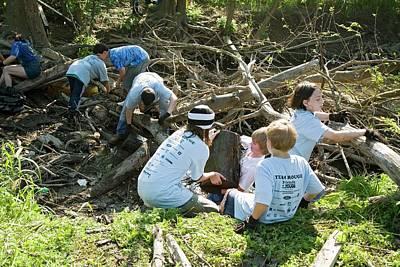 Volunteers Clearing Logs Art Print by Jim West
