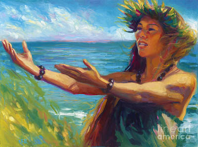 Hawaii Hula Dancer Painting - Waiakalua Wind by Isa Maria