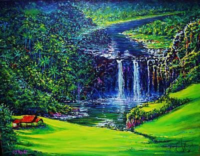 Painting - Waimea Falls  by Joseph   Ruff