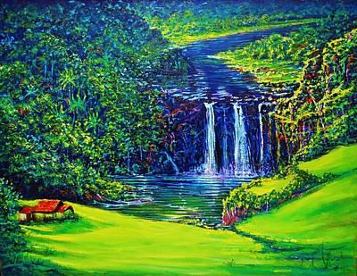 Painting - Waimea Falls L  by Joseph   Ruff