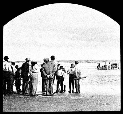 Waiting For Fish Holly Beach Now Wildwood New Jersey 1907 Art Print