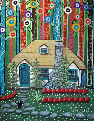 Folk Art Cat Painting - Waiting by Karla Gerard