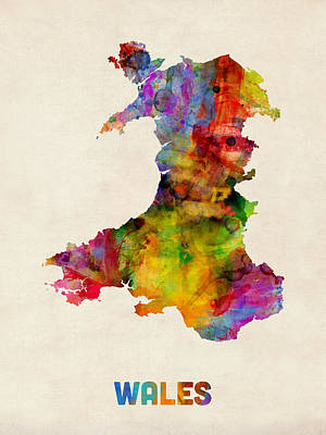 Wales Watercolor Map Art Print by Michael Tompsett