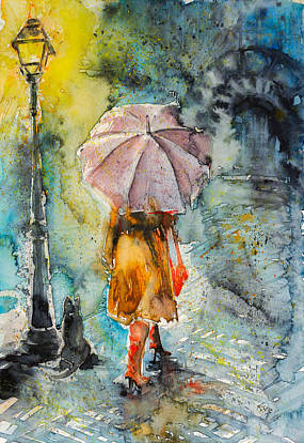 Night Lamp Painting - Walk At Night by Kovacs Anna Brigitta