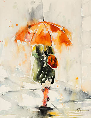 Walk In Rain Art Print by Kovacs Anna Brigitta