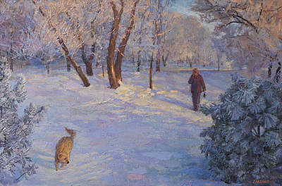 Painting - Walk In Winter Park by Galina Gladkaya