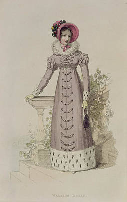 Walking Dress, Fashion Plate Art Print by English School