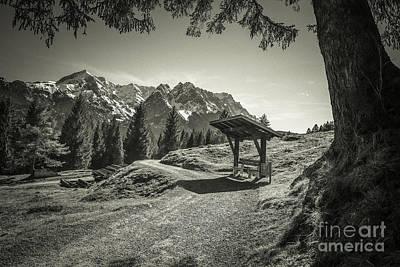 walking in the Alps - bw Art Print by Hannes Cmarits